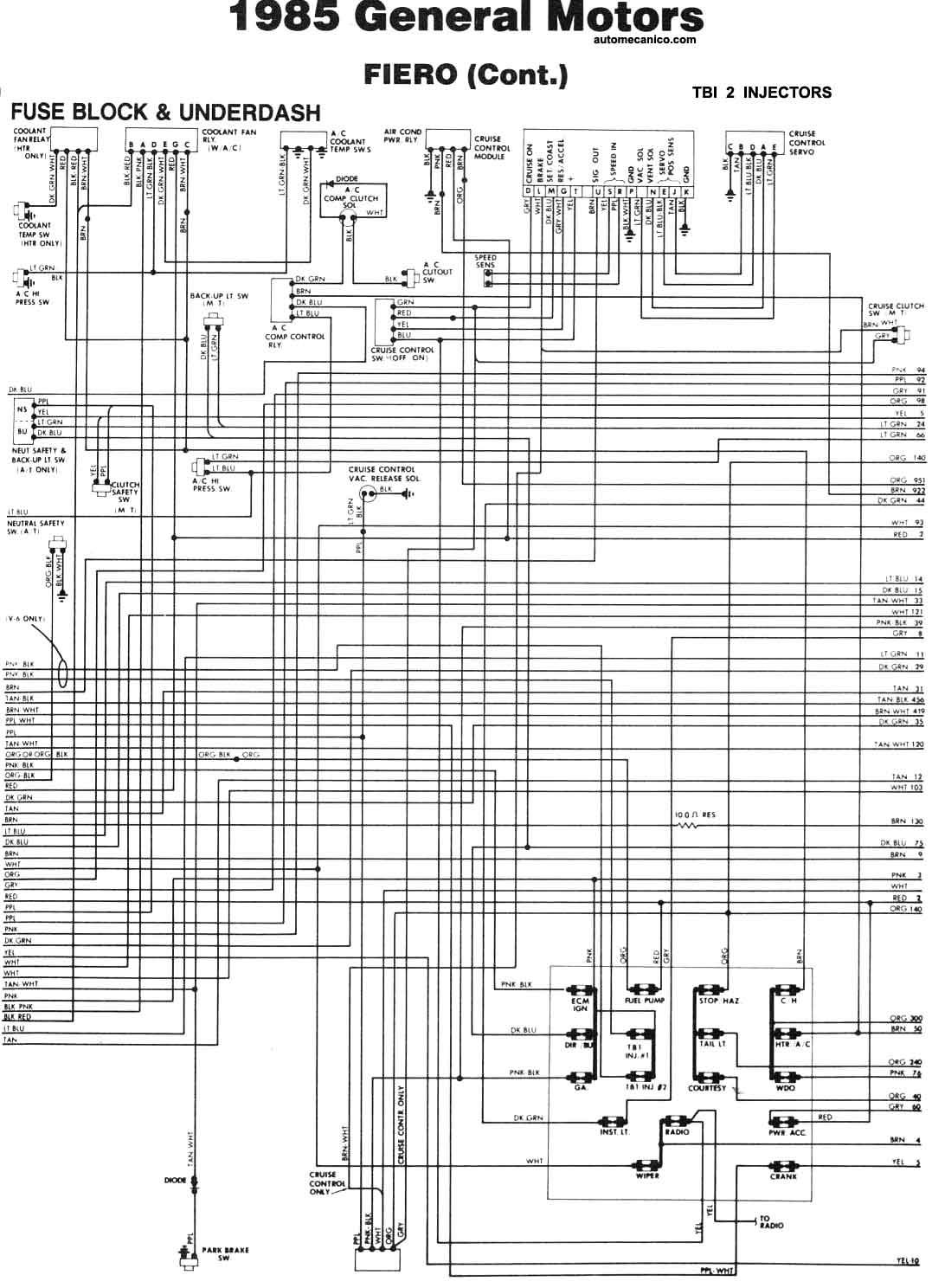 Pontiac Diagramas Electricos 1985 Esquemas Graphics Mecanica Fiero Fuse Box