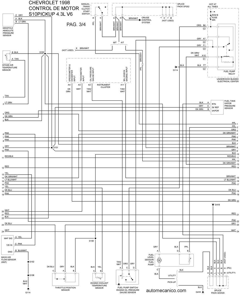 1992 corvette radio diagrama de cableado