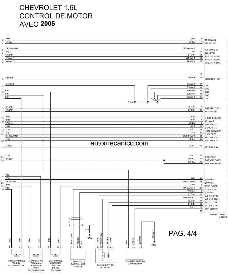 2005, AVEO 1.6L 4 CIL, DIAGRAMA ELECT CONTROL DE MOTOR 4/4 · ‹