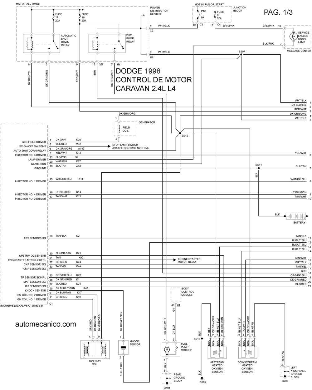 Dodge 1998 Diagramas Esquemas Graphics Vehiculos Motores Mecanica Automotriz