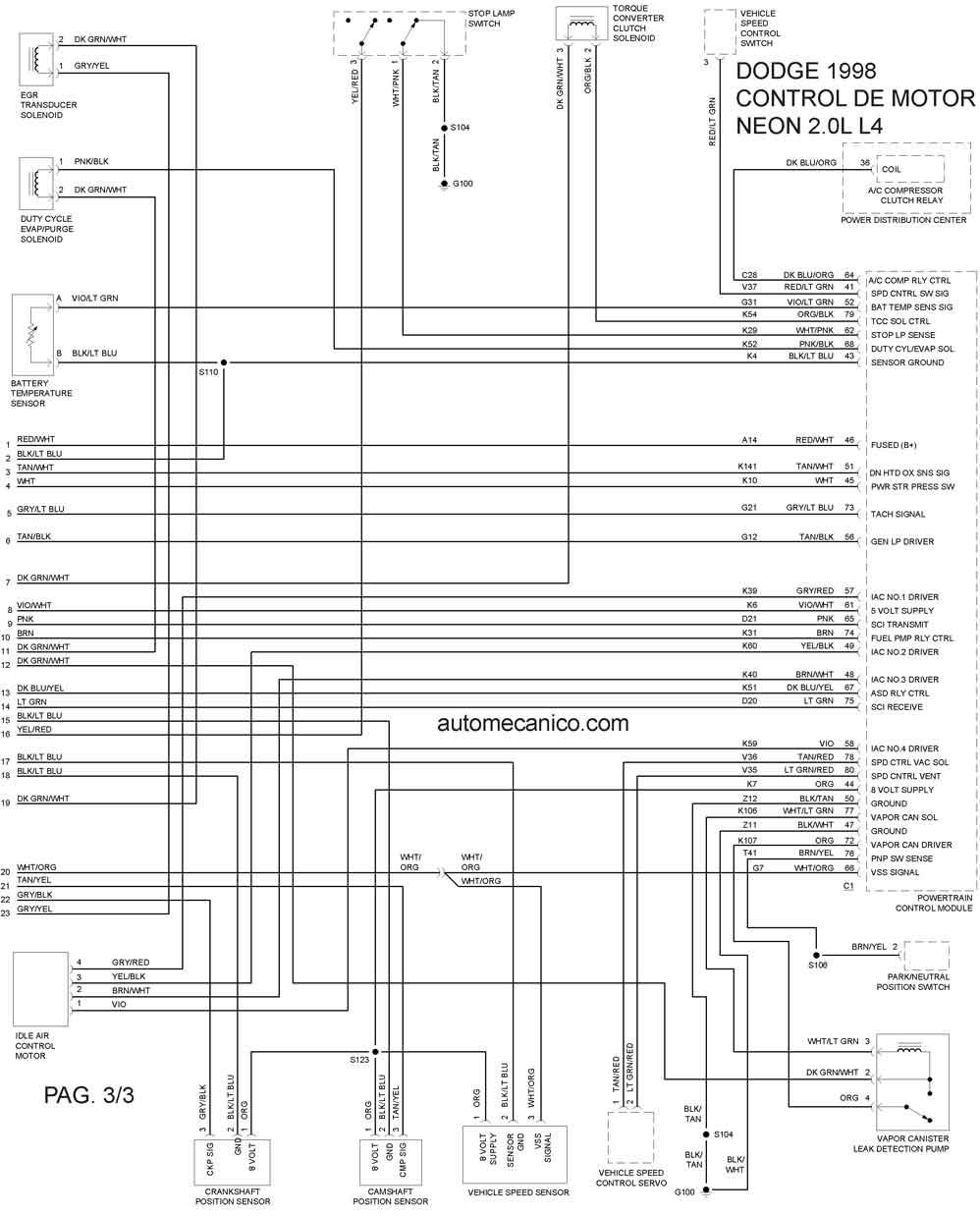Dodge Diagramas Esquemas Vehiculos Motor1998 Mecanica