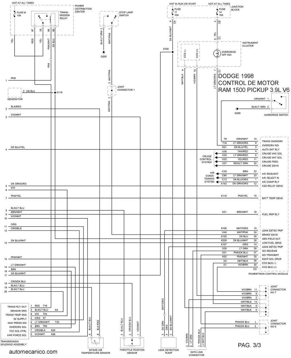 dodge diagrama de cableado de las luces