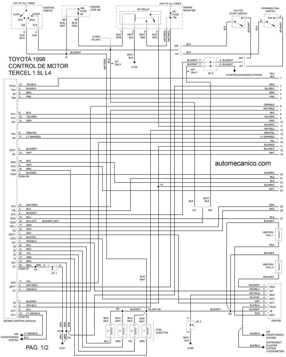 Toyota 1998 Diagramas Esquemas Graphics Vehiculos Motores Mecanica Automotriz
