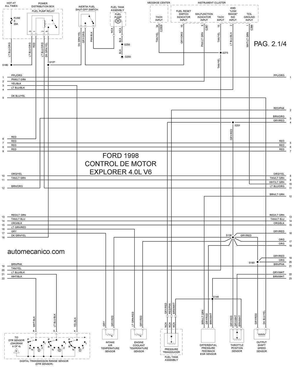 Ford 1998 Diagramas Esquemas Graphics Vehiculos Motores Mecanica Automotriz