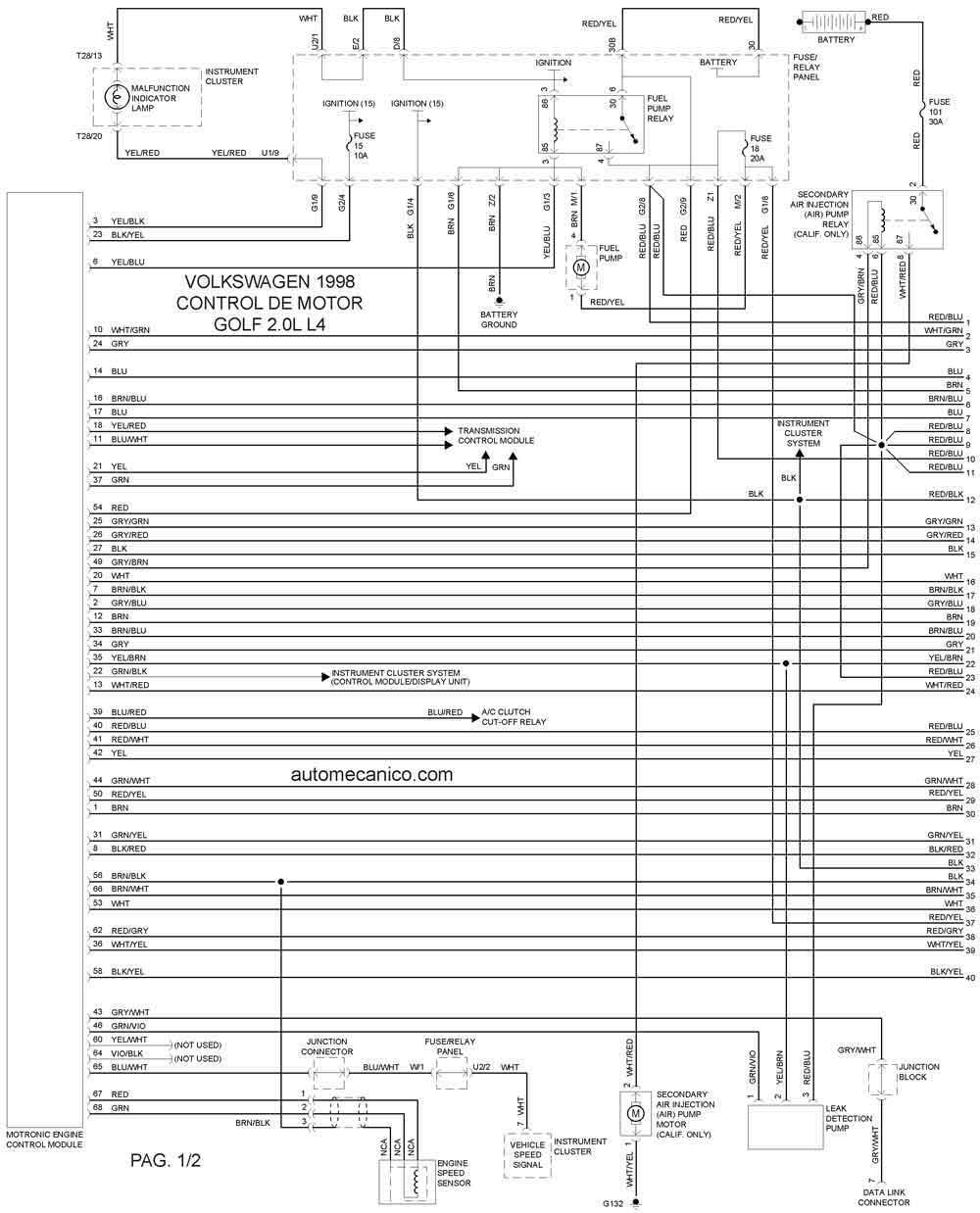 volkswagen  diagramas esquemas graphics vehiculos motores mecanica automotriz