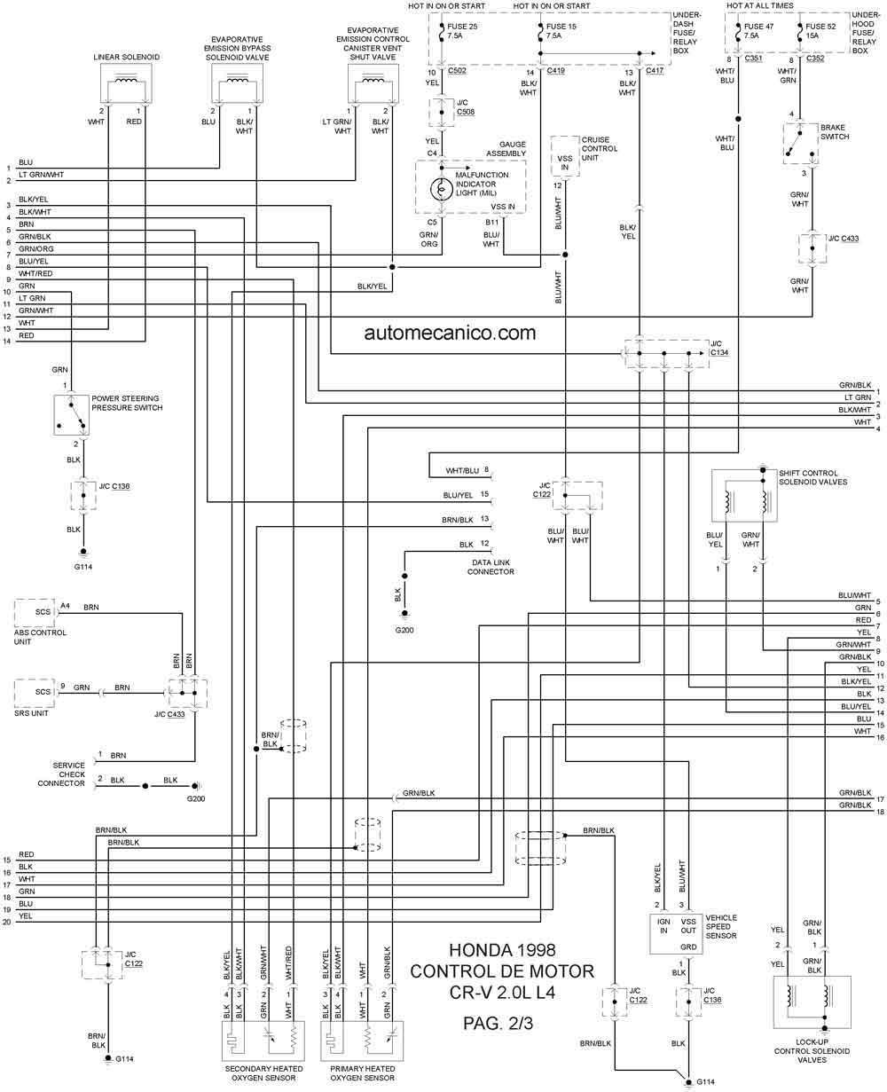 Honda 1998 Diagramas Esquemas Graphics Vehiculos Motores