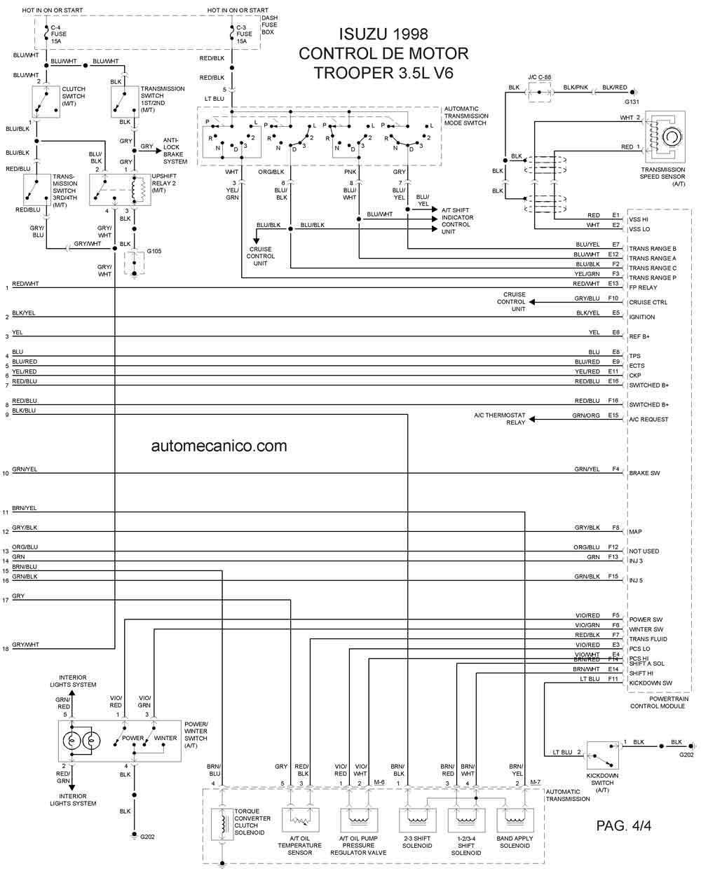 Isuzu 1998 Diagramas Esquemas Graphics Vehiculos Motores Diagrama Electrico Control Del Motor 4