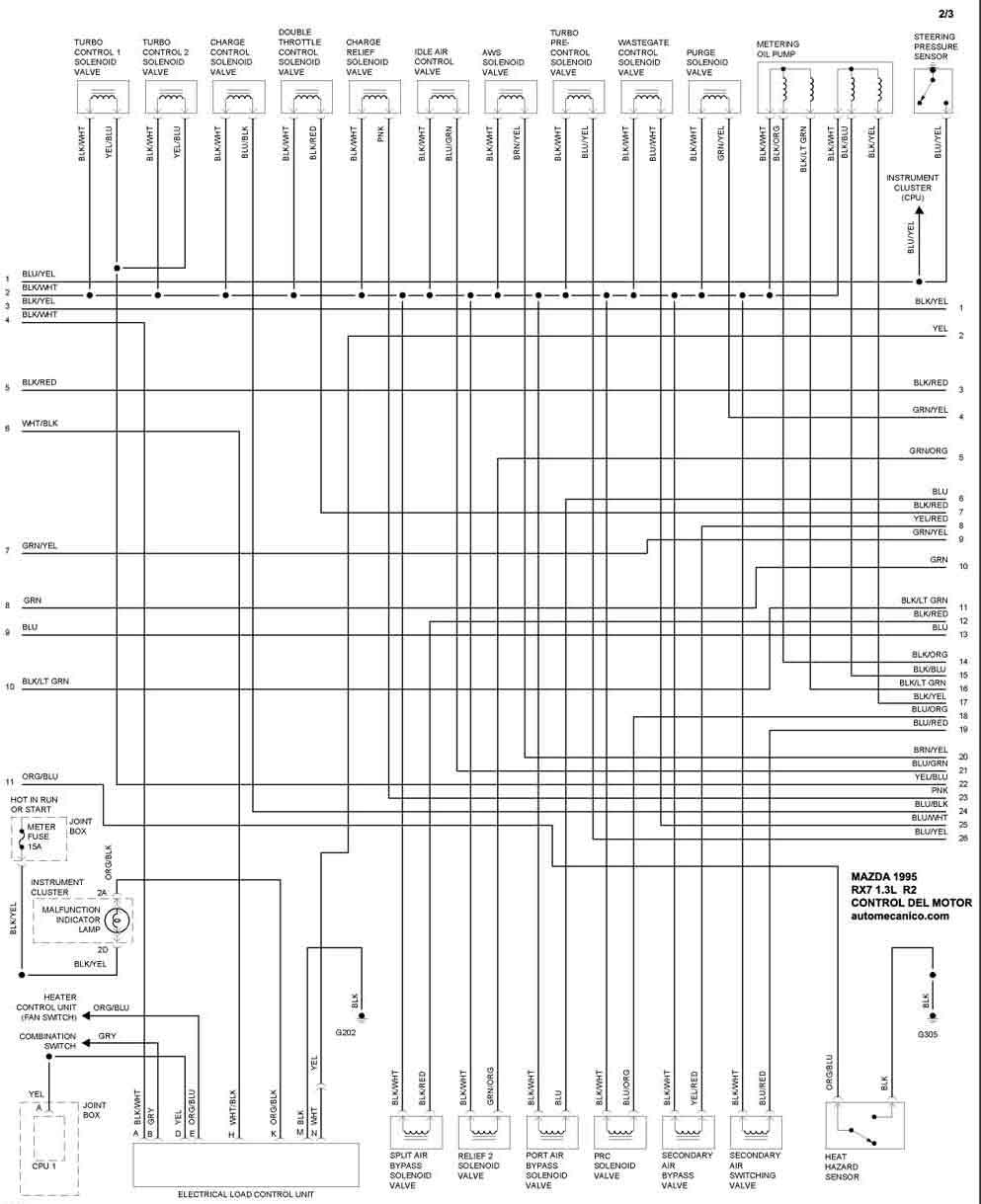 91 mazda protege diagrama del motor