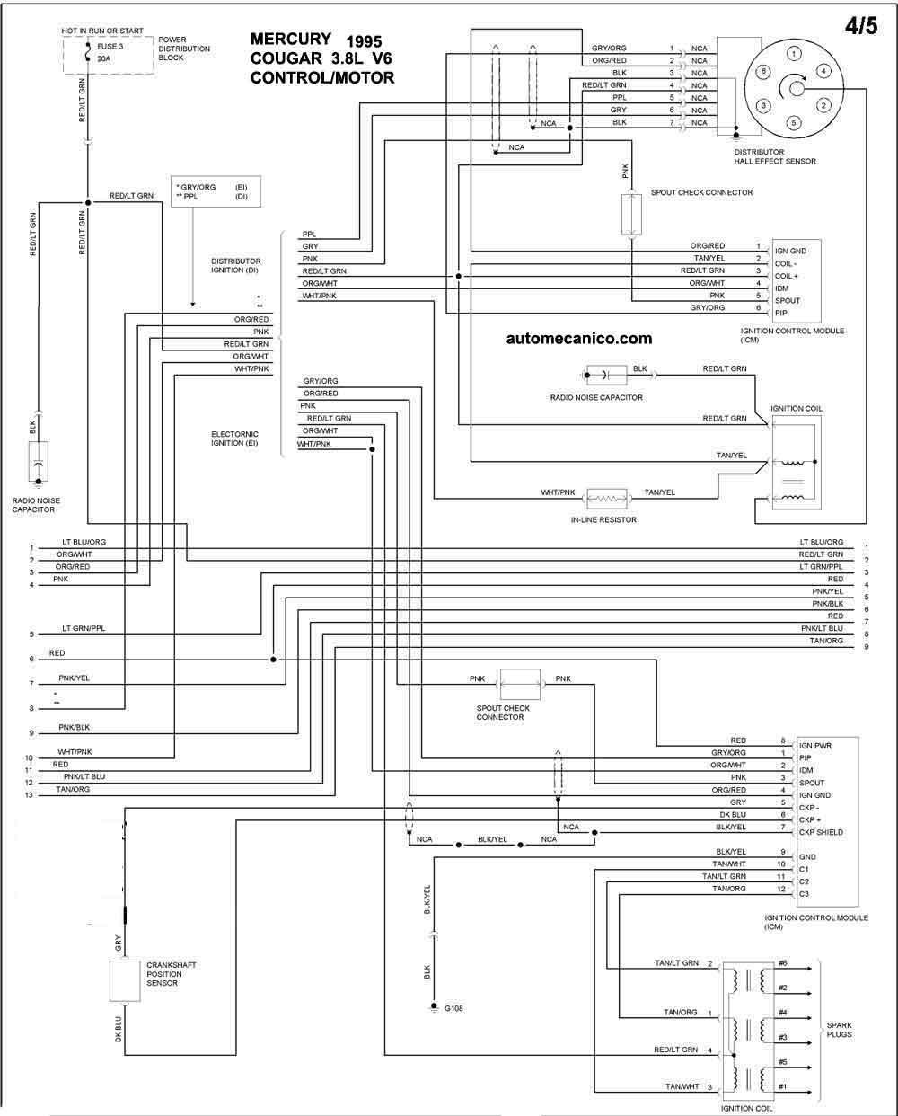 mercury 1995 - diagramas control del motor