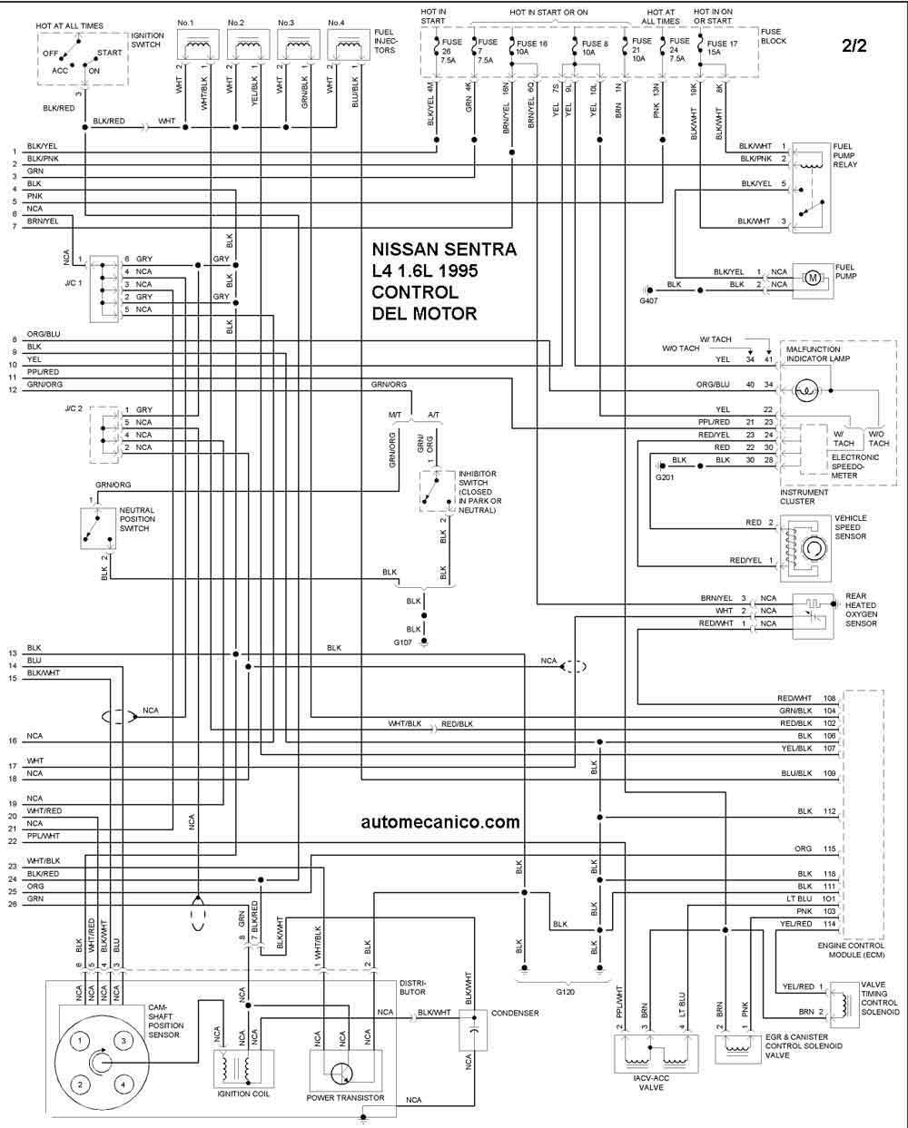 nissan 1995 - diagramas control del motor - graphics - esquemas