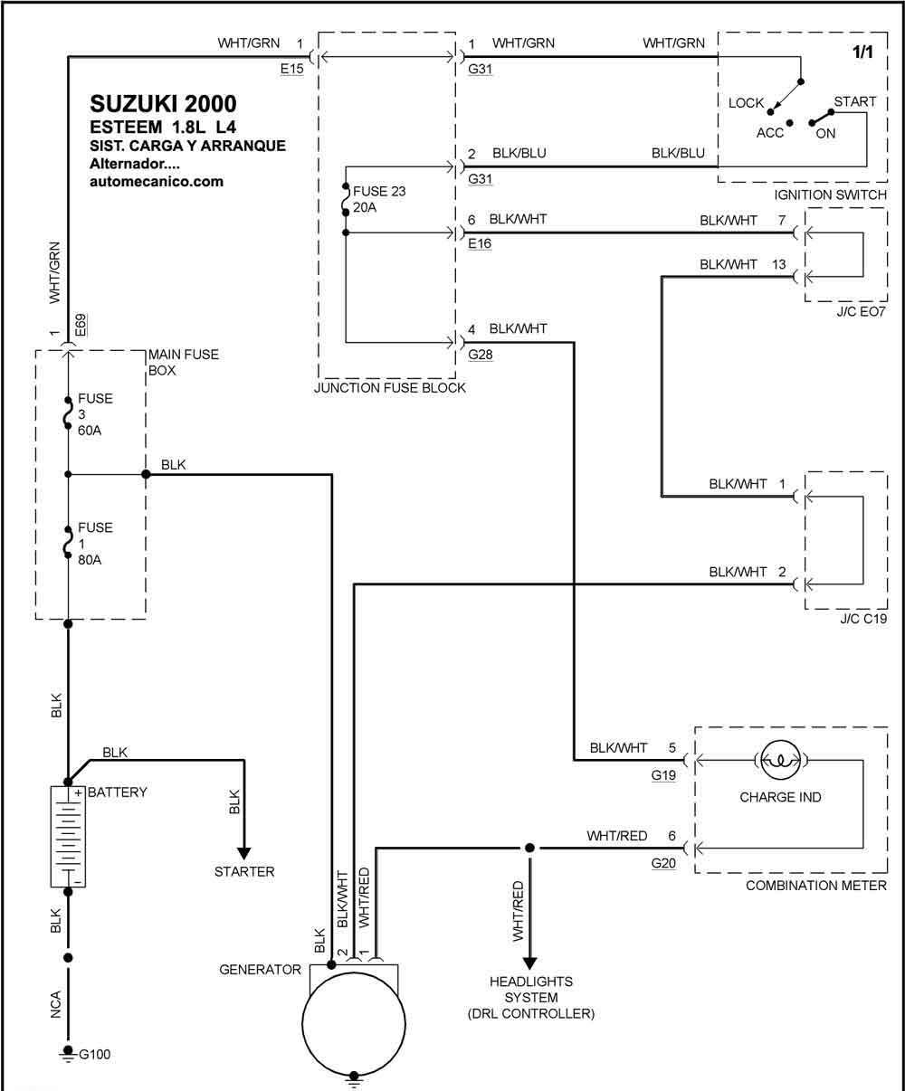 suzuki diagramas esquemas sistema de carga y arranque