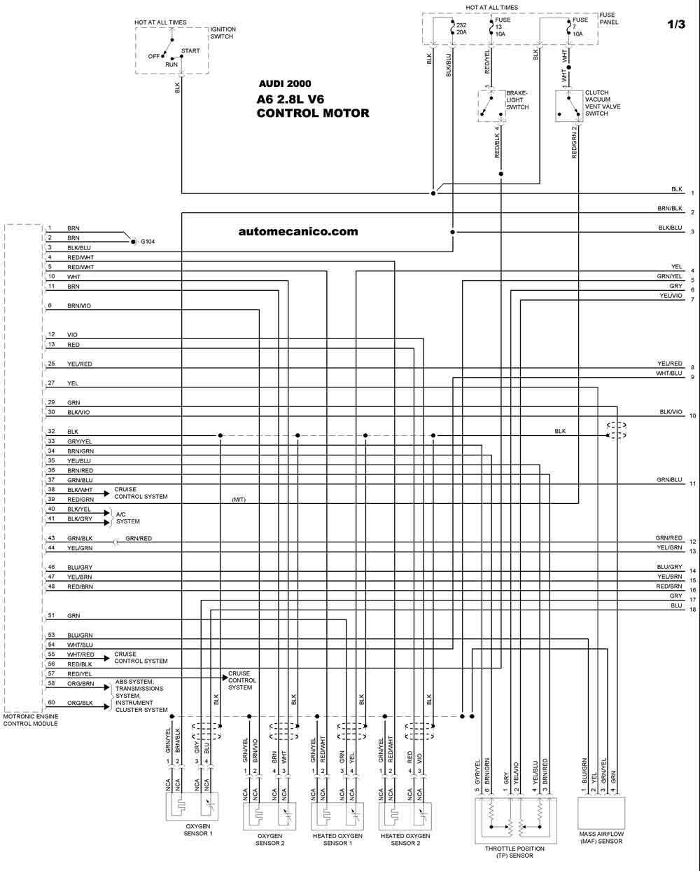 audi 2000 - diagramas control del motor
