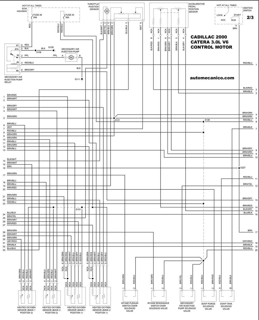 cadillac 2000 - diagramas control del motor - graphics - esquemas