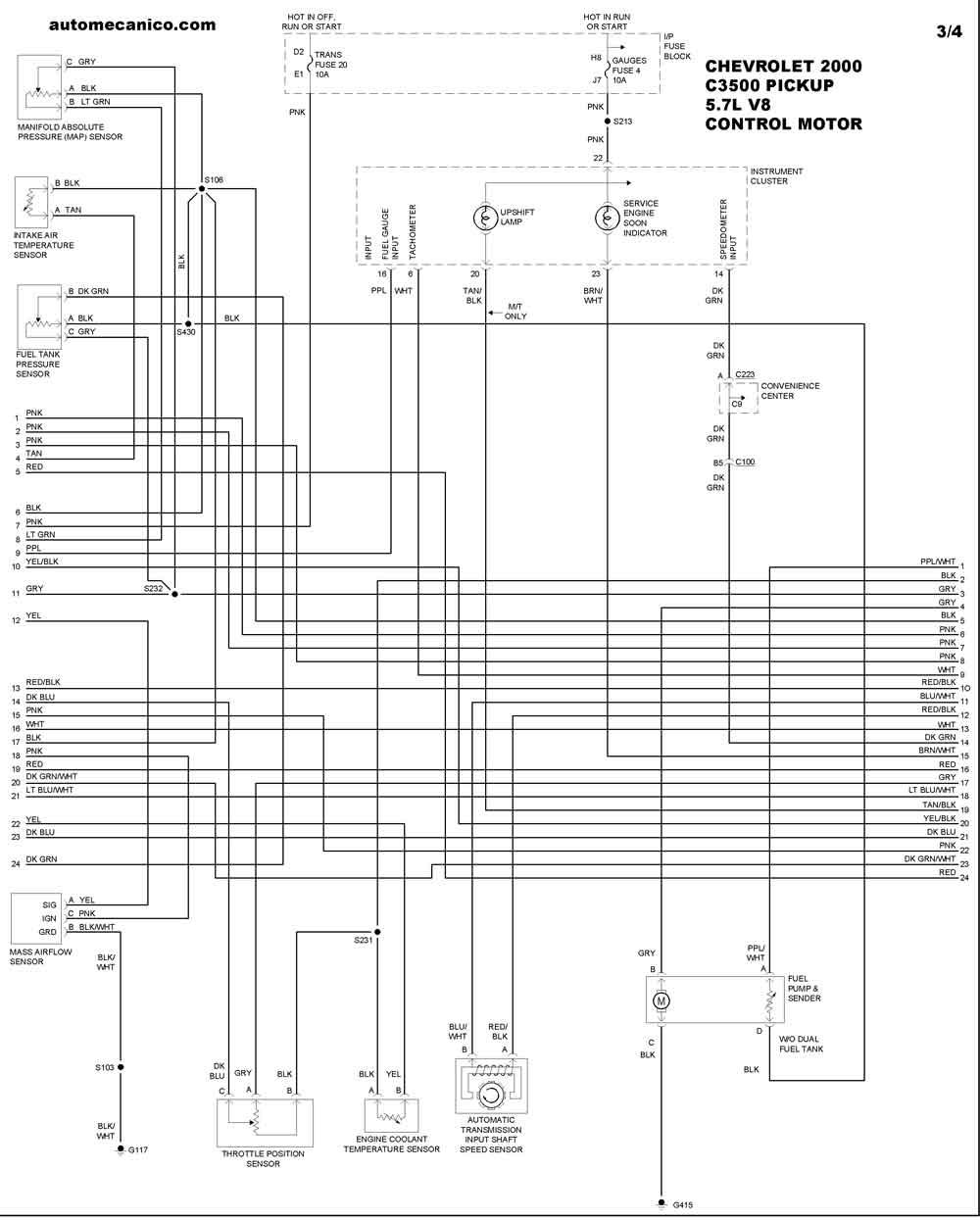 chevrolet 2000 - diagramas control del motor