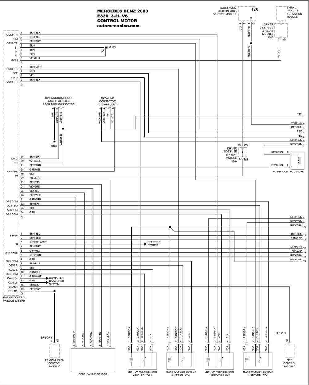 mercedes benz 2000 - diagramas control del motor - graphics - esquemas