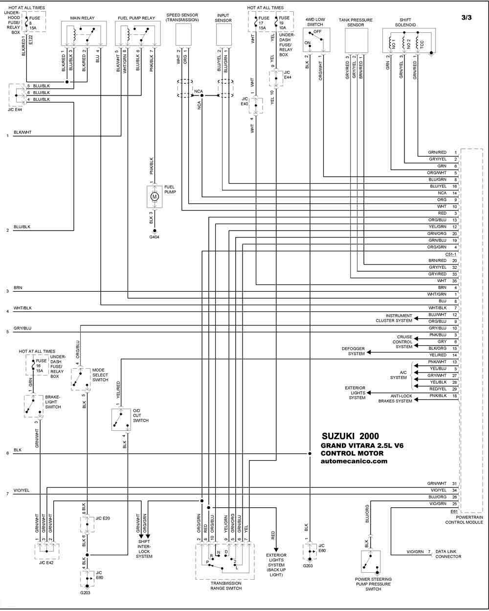 2000 suzuki grand vitara wiring diagram    suzuki       2000    diagramas control del motor vehiculos     suzuki       2000    diagramas control del motor vehiculos