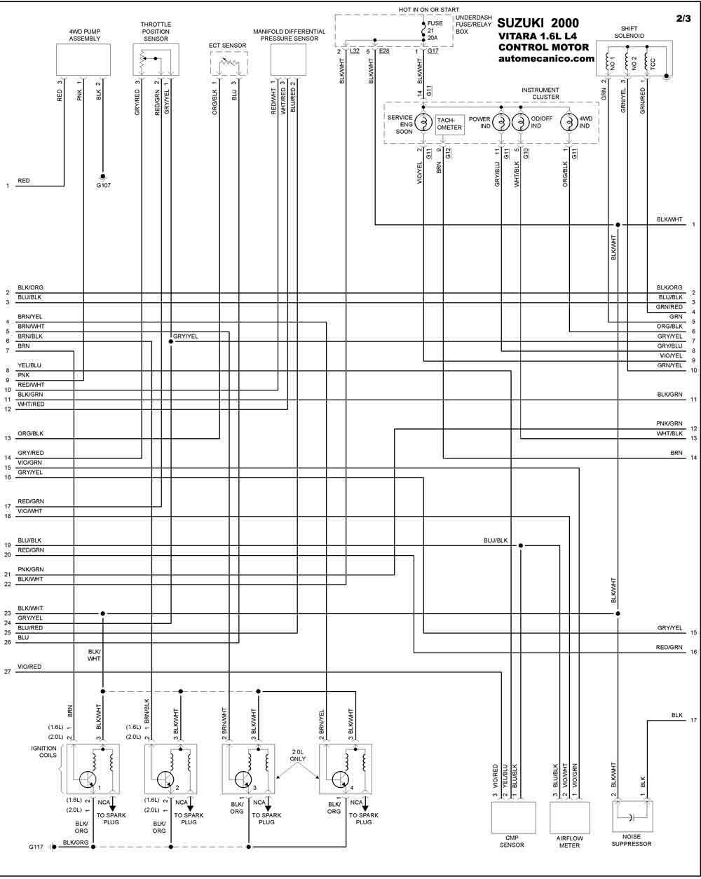 suzuki 2000 - diagramas control del motor - graphics - esquemas